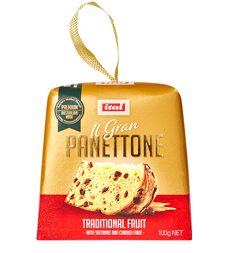 Ital Christmas Gold Range Panettone Traditional Fruit 100g
